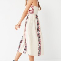 Ecote Emilia Embroidered Pleated Midi Dress | Urban Outfitters