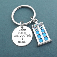 Keep calm, The doctor is here, Police station, Key chain, Key ring, Doctor who, Police, Station, Keychain, Doctor, Calm, Keyring