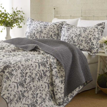 Twin size 100-percent Cotton 2-Piece Quilt Set with Coverlet & Sham in Gray White Floral Pattern