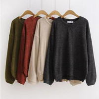 Bat Sleeves Loose Knit Sweater B0014184