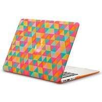 """Kuzy - AIR 13-inch Triangles ORANGE Rubberized Hard Case for MacBook Air 13.3"""" (A1466 & A1369) (NEWEST VERSION) Shell Cover - Triangle ORANGE"""