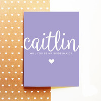 PERSONALIZED Bridesmaid Proposal Card - Will You Be My Bridesmaid - Wedding 5x7