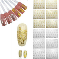 1/piece Fashion Beauty Flower Nail Stickers Manicure Decals Stamping French Nail Art 3D DIY Tips Beauty Tools