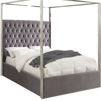 Porter Grey Velvet King Bed