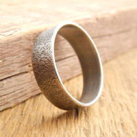 Textured minimalist ring. 6 mm wide sterling silver plain band. Unisex.