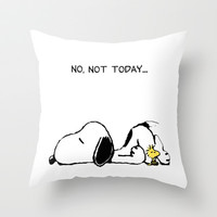 No, not today. Throw Pillow by John Medbury (LAZY J Studios)
