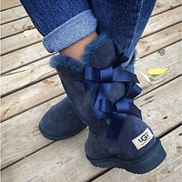 UGG Fashion Winter Women Cute Bowknot Flat Warm Snow Ankle Boots-9