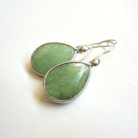 Green Teardrop Earrings  Large Adventurine by ASimpleKindOfFancy