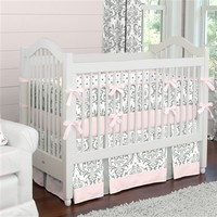 Pink and Gray Traditions Crib Bedding