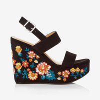 embroidered wedge sandal