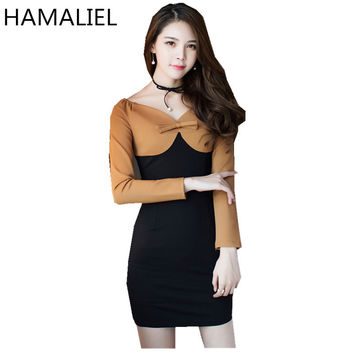 2017 Spring Women Dress Fashion Sexy Hit Color Patchwork Bow Long Sleeve Korean Ladies Casual V Neck Bodycon Pencil Dress