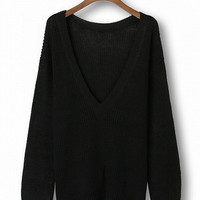 Black Long Sleeve Backless Loose Sweater