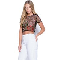 Women Sexy See Through Floral Embroidery Mesh Shirts Transparent Blouse Female Casual Tops Blusas