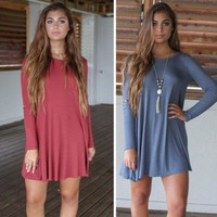 long sleeve solid dress casual party playsuit clubwear bodycon boho dress gift  number 1