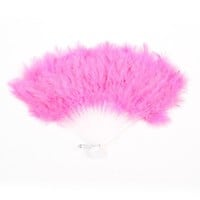 Metal Hanger Soft Feather Plastic Dancing Foldable Hand Fan Pink