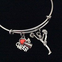 Cheerleader Love to Cheer Expandable Silver Charm Bracelet Adjustable Wire Bangle Handmade Gift Trendy