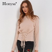 Streetwear Lace Up Women Sweaters And Pullovers 2017 Autumn Winter New Arrivals Slim Waist Long Sleeve Knitted Sweater Female