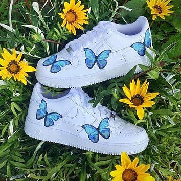 Nike Air Force 1 AF1 Hot Sale Women Casual Blue Butterfly Pattern Sport Shoes Sneakers