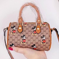 GUCCI x Disney Women Leather Mickey Mouse Print Mini Handbag Tote Crossbody Satchel Shoulder Bag