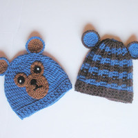 Newborn Crochet Baby Bear Hat Set of Two in Browns and Blues, Boys Hat Set, MADE TO ORDER.