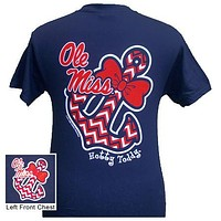 Mississippi Ole Miss Chevron Anchor Bow Girlie Bright T Shirt