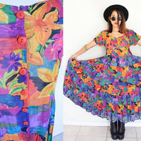 Vintage pleated wrinkle floral flower watercolor print painting colorful babydoll hippie boho bohemian maxi gypsy