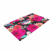 "Crystal Walen ""Sweet Pea"" - Black Floral Woven Area Rug"