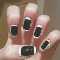 Black With White Border, The 1975 inspired, monochrome hand painted false nail set