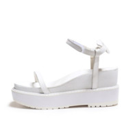 White Thin Strap Platform Wedges
