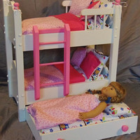 Doll Bunk Bed with Trundle Bed fits American Girl Doll and 18 inch Dolls with 13 piece Bedding Set