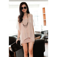 Pink Chiffon Short Sleeve Two Piece Dress