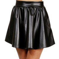 Black Faux Leather Circle Skirt
