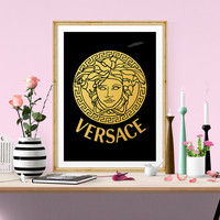 Versace Gold Foil Print, Fashion Art, French Decor, Gold Foil Printable Art, Vanity Decor, French Wall Art, Perfume Poster , Instant