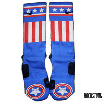 Captain America Custom Nike Elite Socks ALL SIZES!!