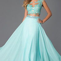 Two Piece Floor Length Lace Embellished Dave and Johnny Dress