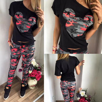 Tracksuit Women Mickey Cartoon Printed T shirt Summer Short Sleeve Tops Full Pant Sportswear Femme Brand Clothing Two Pieces Set