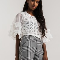 Sheer Boxy Fit Ruffle Front Frill Sleeve Crop Top in Ivory