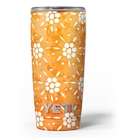 White Pedals Over Watercolored Shades of Orange - Skin Decal Vinyl Wrap Kit compatible with the Yeti Rambler Cooler Tumbler Cups