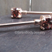 Nipple jewelry barbell rose gold rings high quality body jewelry forward facing nipple bars 14g straight barbells