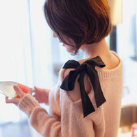 Shoulders Butterfly Bow Spring Sweater
