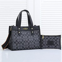 Coach large-capacity two-piece fashion all-match single shoulder bag
