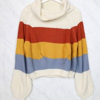 Fall for You Knitted Block Color Turtleneck Sweater in Mustard Blue Combo