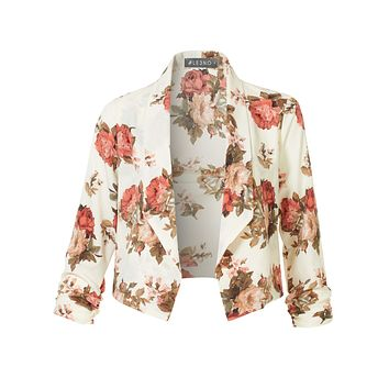 Floral 3/4 Sleeve Open Front Blazer  (CLEARANCE)