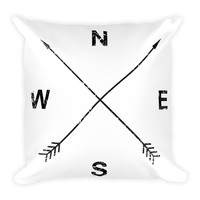 "Retro Arrows Compass Throw Pillow 18"" Square"