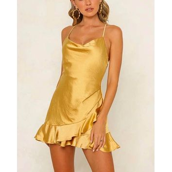 Shutting it Down Cowl Neck Satin Frilly Hem Front Wrap Romper in Mustard