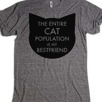 The Entire Cat Population Is My Best Friend- Grey T-Shirt 2XL |