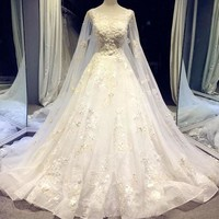 Wedding Dress Watteau Train With Appliques Scoop Neck Wedding Dresses