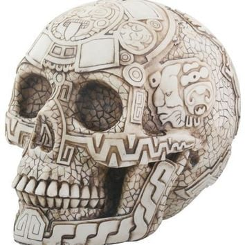 Day of the Dead Aztec Skull Desktop Statue