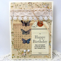 Vintage Birthday Card - Shabby Chic - Romantic Birthday Card - Lace and Pearls Birthday - Butterflies - Cream - Blank Card - Happy Birthday