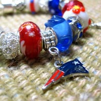 Licensed New England Patriots Charm on a European Style Bracelet